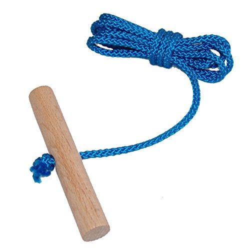 Schlittenseil mit Holzgriff aus Buchenholz BLAU