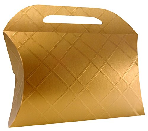 6 Decorative Boxes - Italian Design Premium and Stylish Gold Borsetta (9.06x7.87x2.17 inches) 230