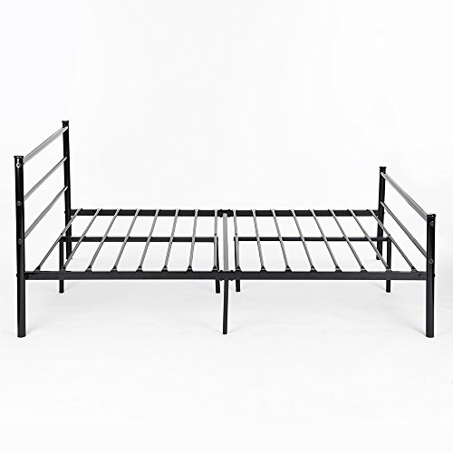 Metal Bed Frame Full Size, GreenForest 10 Legs Mattress Foundation Two Headboards Black Platform Bed Frame Box Spring Replacement