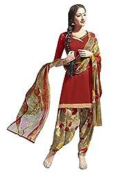 Pari Presents Red Coloured Printed Dress Material