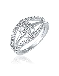 Mahi Rhodium Plated Cluster Shine Ring With CZ Stones For Women FR1100441R