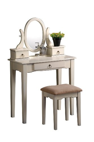Best Prices! Bobkona Abana Vanity Set with Stool, Antique White