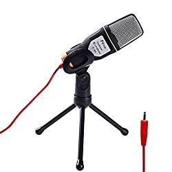 Fifine Professional Condenser Sound Microphone with Stand for Pc Laptop Skype Recording Black black