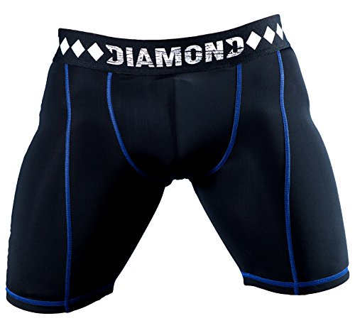 Diamond MMA - Compression Shorts with Built-in Jock Strap Supporter with Athletic Cup Pocket for Sports, Medium