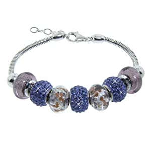 "Italian Sterling Silver Bracelet with Purple Murano Glass and Crystal Beads, 7.5"" +1"" Extender"