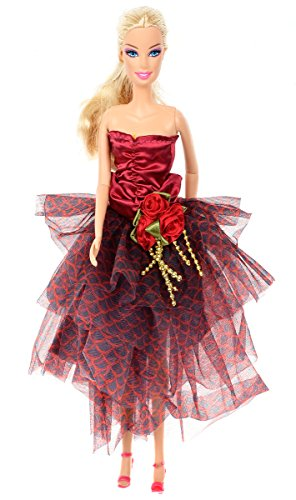 Banana Kong Simple Strapless Mesh Fairy Graceful Wine Red Dress Gown