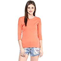 Hypernation Coral Color Round Neck T-shirt For Women