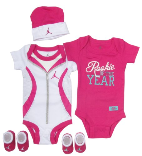 Jordan Baby Clothes Rookie of the Year Set for Baby Boys and Girls (One Size 0-6 Months) Pink, 0-6 Months