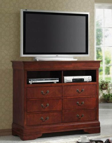 tv dresser stand louis philippe style in cherry finish black friday cyber monday. Black Bedroom Furniture Sets. Home Design Ideas