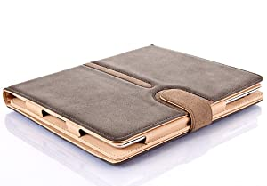 Grey / Brown & Tan Buckle series Suede Leather Smart Flip Case Cover for The New iPad 4 (with Retina Display) + iPad 3 + iPad 2 with Full Sleep Wake compatibility!