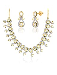 "Peora 18 Karat Gold Plated Kundan ""Trikaya"" Necklace Earrings Set (PN414GJ)"