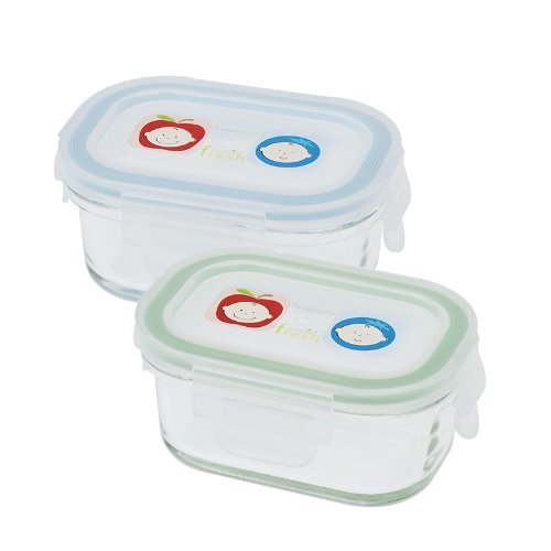 Innobaby Glass Rectangle Food Storage Container, 2 Pack, Green/Blue