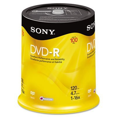 Sony DVD-R 16x Recordable DVD 4.7GB - 100 Disc Spindle