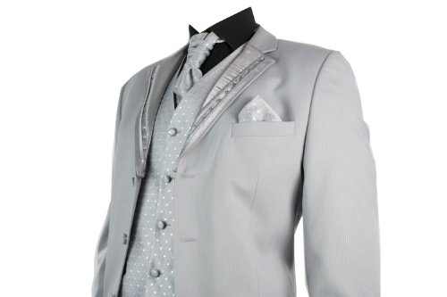Mens Wedding Party Suit Silver Striped Design Waistcoat, Crovat & Handkerchief