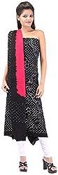 Shreya Bandhej Women's Cotton UnStitched Dress Material (SB3-BT, Black & Tomato Red )
