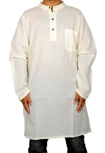 Casual Wear Cotton Yoga Mens Long Kurta Size-M