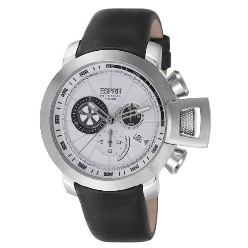 Esprit EL101831F02 - Reloj cronógrafo de cuarzo para hombre con correa de piel, color negro