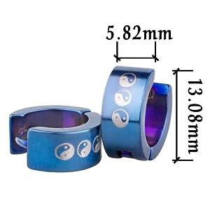 Pugster Blue Yin Yang Symbol Stainless Steel Mens Hoop Earrings