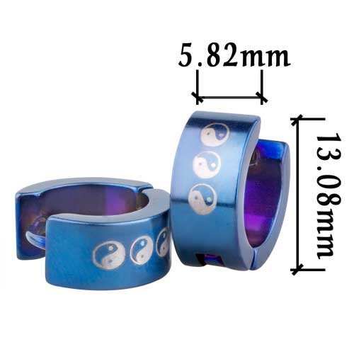 Pugster Blue Yin Yang Symbol Stainless Steel Mens Hoop Earrings