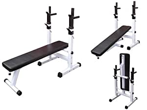 Folding Bench Press Weight Bench With Adjustable Barbell Stands Versatile Space Saving Amazon