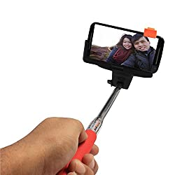 DMG Stretchable Self Portrait Monopod Selfie Stick with Built-in Bluetooth Remote Clicker and Easy Adjustable Holder