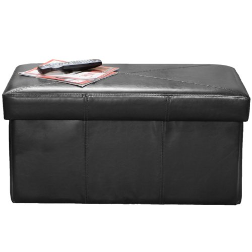 BEST Nottingham Leather Storage Ottoman, Black