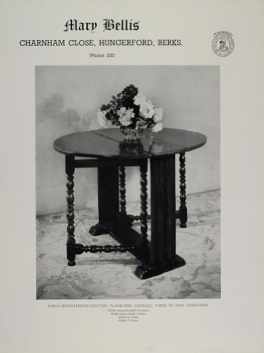 Image of 1954 Ad Mary Bellis Antique Plank End Gateleg Table - Original Print Ad (B005DGKRBI)
