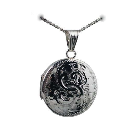 Silver 23mm engraved flat round Locket with Curb chain 18 inches