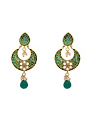 ANTIQUE GOLDEN STONE STUDDED FLOWER STYLE CHAAND BAALI EARRINGS/HANGINGS (GREEN) - PCAE2215
