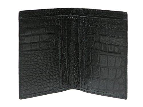 Men's, colore: Nero coccodrillo in vera pelle a portafoglio con porta carte di credito, porta documenti, sottile, a portafoglio con porta carte di credito, motivo: coccodrillo Crocodile Black