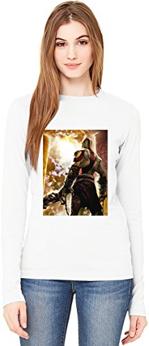 God Of War T-Shirt da Donna a Maniche Lunghe Long-Sleeve T-shirt For Women| 100% Premium Cotton Ultimate Comfort Large