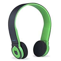 Hi-Fun HFHiEDO-BLKGRE Hi-Edo Bluetooth Headphones for iPhones and Most Mobile Devices - Retail Packaging - Black/Green