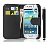 Leather Wallet Flip Case Cover for Samsung Galaxy Young GT-S6310 Young Duos GT-S6312+FREE SCREEN GUARD+STYLUS PEN (Black)