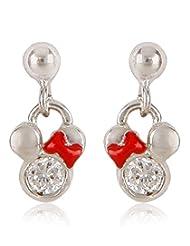 Disney Silver Plated Drop Earrings For Women (Multi-Color) (SB110159E/1)
