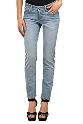 Ladybug Women Stretch Skinny Washed Jeans in Faded Blue