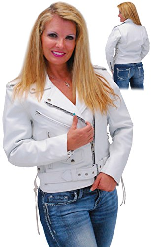 Jamin' Leather White Leather Motorcycle Jacket with Side Lace L
