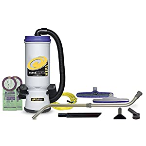 ProTeam Backpack Vacuums Super CoachVac HEPA Commercial Backpack Vacuum Cleaner with Versatile Tool Kit & Telescoping Wand, 10 Quart