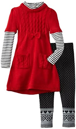 Young Hearts Little Girls' 2 Piece Cable Legging Set, Medium Red, 4T