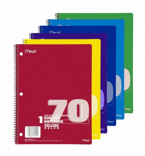 41b4m9i3jUL. SL500  Mead Spiral Notebook, College Ruled, 1 Subject, 70 Sheets, 8.5 x 10.5 Inches, Assorted Colors (05512)