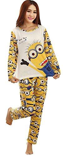 Dachou Coppie Minion Pajama Set Uomini e Donne Sleepwear Carino pet (L, Women)