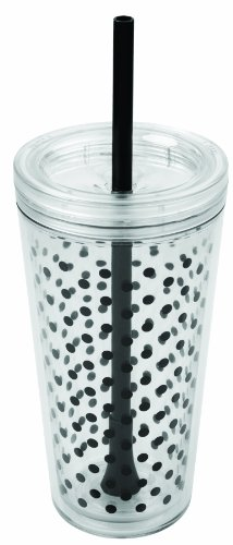 Copco 2510-0432 Minimus Tumbler with Straw, 24-Ounce, Black Dots (Copco Tumbler Cup compare prices)