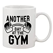 P&B Another Day At the Gym Ceramic Coffee Mugs 11 oz