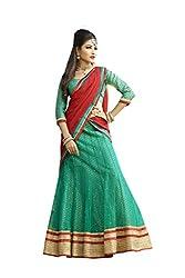 Kanheyas Womens Net Lehenga Choli (Kmtsd804 _Green And Red _Free Size)