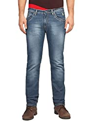 FN Jeans Stylish Blue Slim Fit Low Rise Stone Wash Denim For Men | FNJ9169