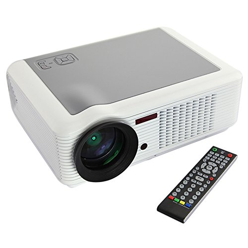 (White) NEW White Full Color HD LED Projector 16:9 4:3 Maximum 30000 hours 2000 Lumens Support 1080P 720P Black Friday & Cyber Monday