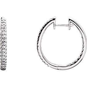 IceCarats Designer Jewelry 14K White Gold 14K White 1/2 Ctw Diamond Hinged Inside/Outside Hoop Earring.