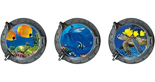 "Dnven (13""w X 13""h X 3pcs) Porthole Set of 3 3D Under the Sea Ocean Tropical Fishes Shark Sea Turtles Window View Faux Submarine Window Partial Frosted Frosting Murals Wall Decals Removable Wall Stickers for Bedrooms Home Arts Dull Polish"