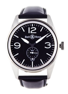 Bell & Ross Men's BR123-ORIGINAL BLACK Vintage Black Dial and Strap Watch