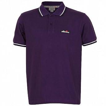 Ellesse Italia Men's Challenge Logo Retro Polo Tee T Shirt Top purple trim XLarge
