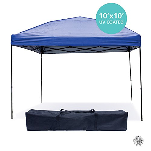 Pop Up Canopy Tent 10 x 10 Feet, Blue - UV Coated, Waterproof Outdoor Party Gazebo Tent (Quest Wind Curtain compare prices)